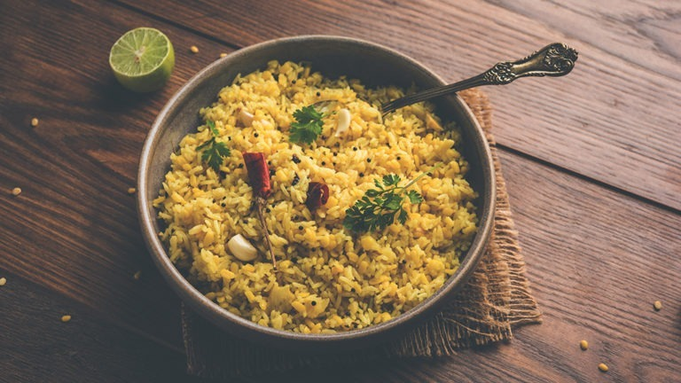 moong dal khichdi or khichri, Indian national Dish or food, selective focus