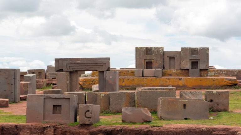 Megalithic stone with intricate carving in the complex Puma Punku, Tiwanaku, Bolivia