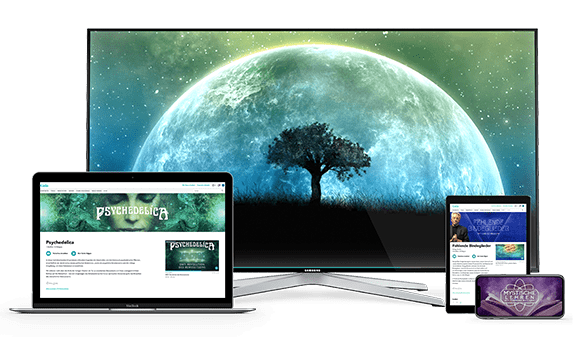 Desktop, laptop, tablet, phone devices with Gaia content on screens