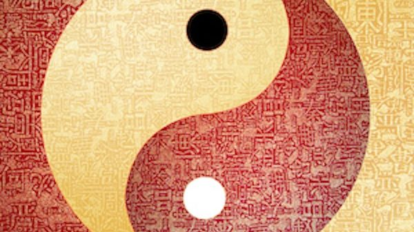 Ying-Yang symbol with chinese letter, The sign of the two elements.