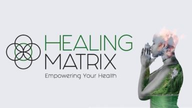 Person in prayer pose and Healing Matrix show logo