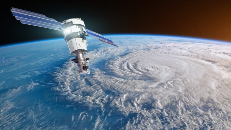 Research, probing, monitoring hurricane Florence raging on the coast. Satellite above the Earth makes measurements of the weather parameters. Elements of this image furnished by NASA (Research, probing, monitoring hurricane Florence raging on the coas