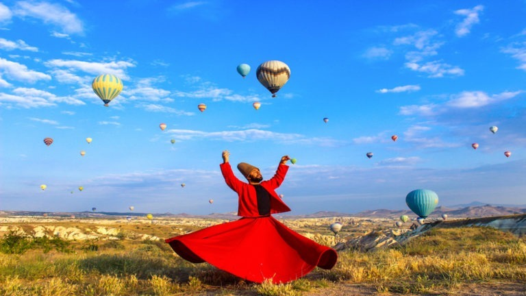 Whirling dervish, Ishak Urun in Cappadocia, Turkey