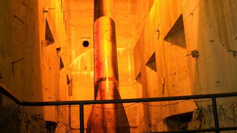V2 rocket inside a Second World War bunker, near Saint-Omer in the Pas-de-Calais region of northeastern France. A launching facility for the V-2 (A-4) ballistic missile.