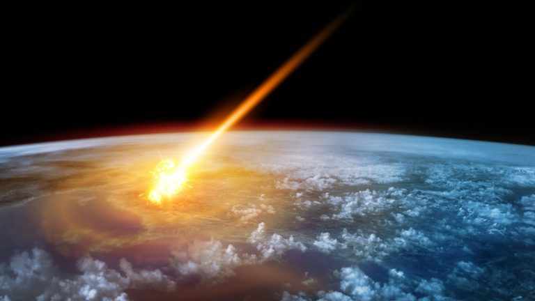 A Meteor glowing as it enters the Earth's atmosphere