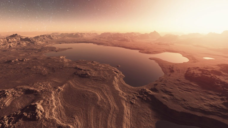 Martian landscape with lakes, water.