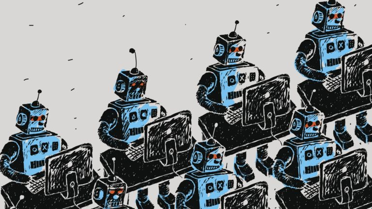 Group of Robots and personal computer vector illustration