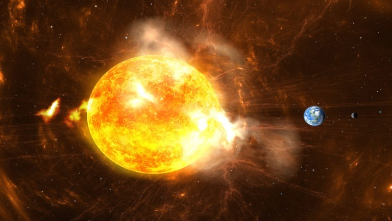 Giant Solar Flares. Sun producing super-storms and massive radiation bursts. All elements made by me