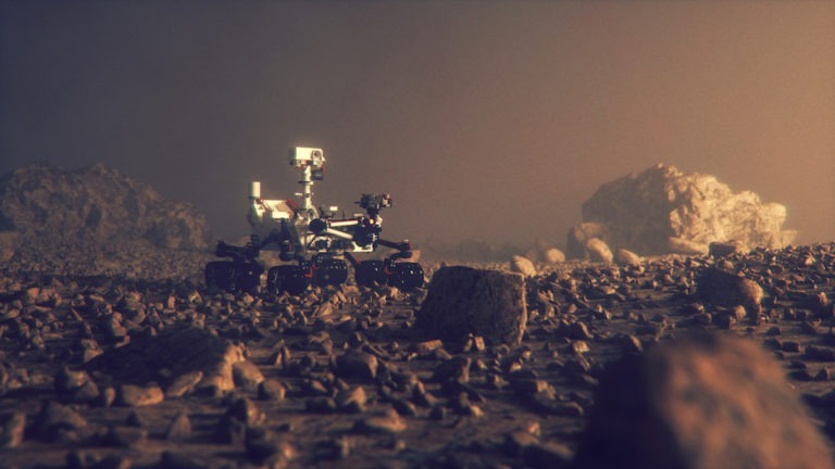 Mars Rover exploring on the planet surface.