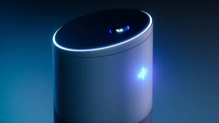 Home intelligent voice activated assistant. 3D rendering concept of hi tech futuristic artificial intelligence speech recognition technology.