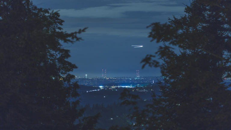 Airplane turning near an airport over Seattle, Washington, USA in between two trees. Long exposure of plane flying over city at night. (Airplane turning near an airport over Seattle, Washington, USA in between two trees. Long exposure of plane flying