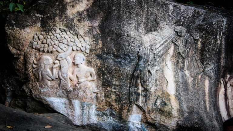 Scenes of christian mythology carved in stone, India