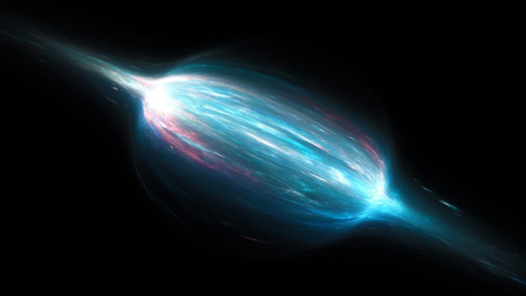 Glowing magnetic field with plasma in space, computer generated abstract background, 3d rendering