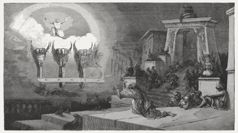 Ezekiel's vision of the glory of God (Ezekiel 1). Wood engraving from the book