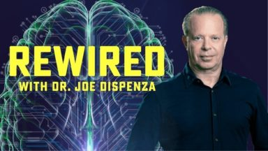 Human brain schematic, Dr. Joe Dispenza, and Rewired show logo