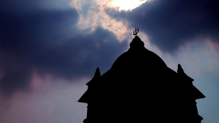 Image of the silhouette of the temple of Lord Shiva taken in the Indian city of Kolkota,West Bengal