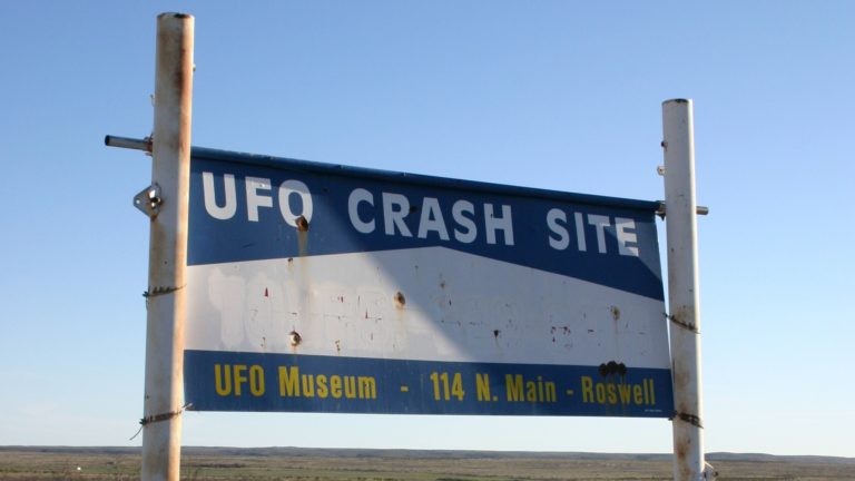 Sign marking the path leading to the supposed UFO crash site, outside Roswell, New Mexico.
